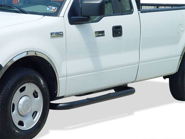 GO Industries - Go Industries 8753B Black Cab Length Nerf Bars Ford F-350 Crew Cab (1980-1998)