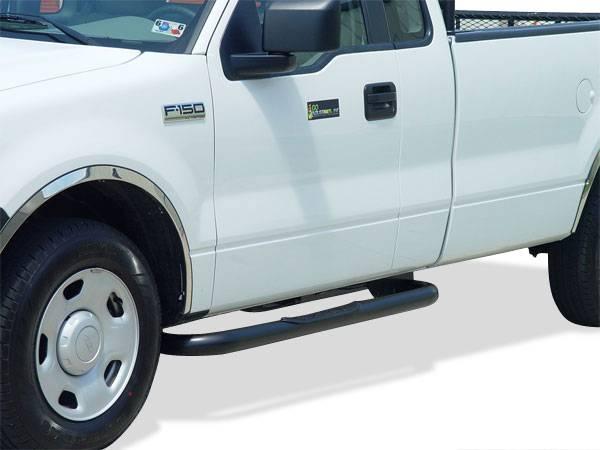 GO Industries - Go Industries 9763B Black Cab Length Nerf Bars GMC Sierra 3500 Extended Cab 4 Door (2001-2011)