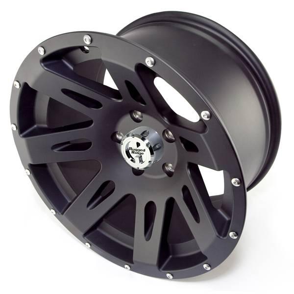 Rugged Ridge - Rugged Ridge 15301.01 Aluminum Wheel 17X9 Jeep Wrangler JK 2007-2010 Black Satin 12MM Offset 5 On 5
