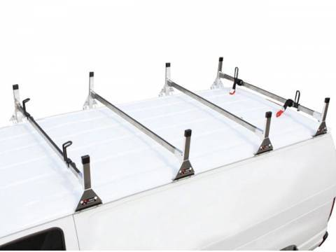 Vantech - Vantech H3302W Universal 1 Bar System with A03 Side supports White Aluminum (96 Inch Wide) Drilling Required