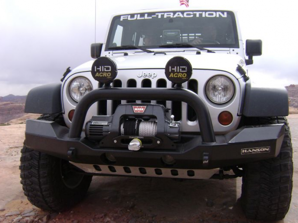 Hanson Offroad - Hanson Offroad JKFL1502-P Jeep JK Fullsize Euro Spec Full Width Winch Front Bumper