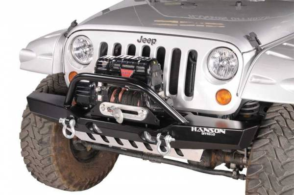 Hanson Offroad - Hanson Offroad JKML1202-P Jeep JK Medium Winch Guard Front Bumper with Light Provision