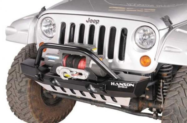 Hanson Offroad - Hanson Offroad JKSL1202-P Jeep JK Stubby Winch Guard Front Bumper with Light Provision