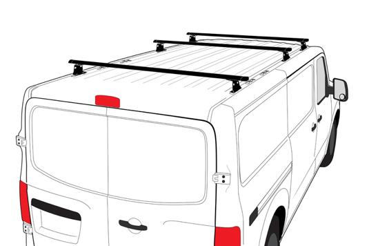 """Vantech - Vantech H3326W H3 Aluminum Rack White 3 Bar 4"""" Low Profile Nissan NV 2011-2013"""