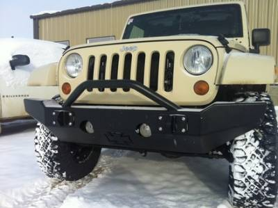 MDF Exterior Accessories - Bumpers - Iron Cross - Iron Cross 22-215-07 Winch Front Bumper with Push Bar Jeep Wrangler 2007-2015
