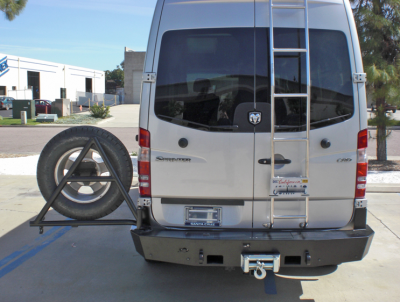 Aluminess - Aluminess 210168 Rear Bumper with Guard & Swing Arms Winch Ready Dodge Sprinter 2007-2013 - Image 3