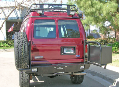 Aluminess - Aluminess 210005.2 Rear Bumper with Brush Guards & Swing Arms Ford E-Series 1992-2013 - Image 1
