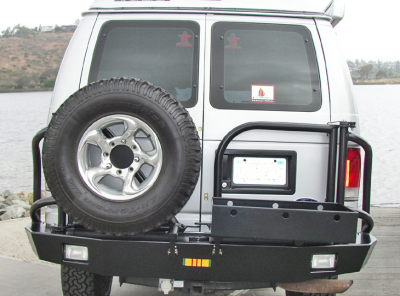 Aluminess - Aluminess 210005.2 Rear Bumper with Brush Guards & Swing Arms Ford E-Series 1992-2013 - Image 2