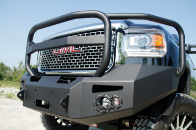 Fab Fours - Fab Fours GM14-A3150-1 Winch Front Bumper with Grille Guard and No Sensors GMC 2500HD/3500 2015-2019 - Image 2