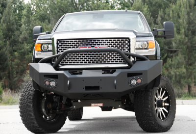 Fab Fours - Fab Fours GM14-A3152-1 Winch Front Bumper with Pre-runner Bar GMC 2500HD/3500 2015-2019 - Image 1