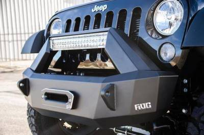 Flog Industries - Flog Industries FISD-JJK-0718F-STBY-WR Front Stubby Winch Bumper Jeep Wrangler JK 2007-2018 - Image 1