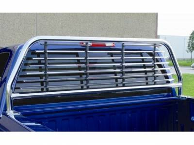 Chrome Round Tube Headache Racks - Ford Trucks - GO Industries - GO 52536 Chrome Round Tube-Split Window Headache Rack Ford F-150 2004-2010