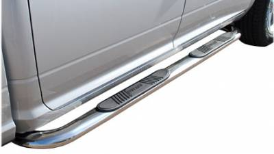 """Nerf Bars - 4"""" Oval Nerf Bars - Luverne - Luverne 440719 4"""" Stainless Steel Oval Nerf Bars Chevy/GMC Silverado/Sierra Crew Cab Standard Box 6.5ft 2001-2012"""
