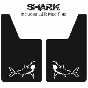 "Proven Design Mud Flaps with Logo's - Classic Series Mud Flaps 20"" x 12"" - Shark Mud Flaps Logo"
