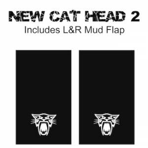 "Proven Design Mud Flaps with Logo's - Heavy Duty Series Mud Flaps 22"" x 13"" - Cat Head Logo"