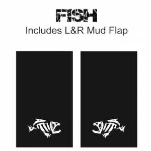 "Proven Design Mud Flaps with Logo's - Heavy Duty Series Mud Flaps 22"" x 13"" - Fish Logo"