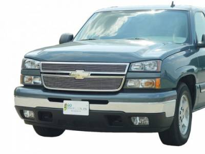 Billet Grilles - Chevrolet - GO Industries - Go Industries 85026 Polished Aluminum Bolt Over Billet Grille Chevrolet Avalanche with factory cladding (2002-2006)
