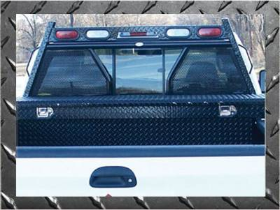 Frontier Diamond Series Headache Rack - Chevy/GMC - Frontier Gear - Frontier Gear 500-29-9004 Diamond Series Headache Rack Chevy/GMC 1500/2500/3500HD Open Punch Plate With Lights (1988-2013)