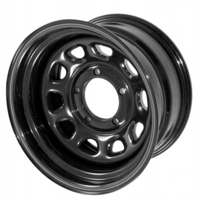 Search Alloy Wheels - Rugged Ridge Wheels and Spacers - Rugged Ridge - Rugged Ridge 15500.10 Steel Wheel D Window Black 15X8 5 On 55 Bolt Pattern 375 Backspacing Jeep CJ 46-1986