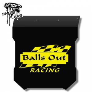 "Snow Flaps - Polaris Pro RMK/Assault 2011+ - ""Balls Out"" Logo"