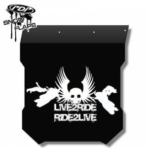 "Snow Flaps - Polaris Pro RMK/Assault 2011+ - ""Live 2 Ride"" Logo"