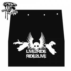 "Snow Flaps - Ski Doo REV 2004-2007 - ""Live 2 Ride"" Logo"