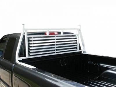 Black Round Tube Headache Racks - Toyota Trucks - GO Industries - Go Industries 20750FRAME White Tool Box Rack-Frame Only Headache Rack