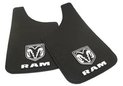 "Mud Flaps by Style - Logo Mud Flaps - Plasticolor - Plasticolor 000509R01 Dodge Ram Mud Flaps Pair 11"" x 19"""
