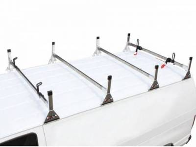 Vantech Van Racks - Universal Racks - Vantech - Vantech H2177W Universal 1 Bar System White Steel (42-45 Inch Wide) Drilling Required