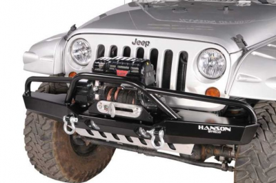 Jeep Bumpers - Hanson - JK Front Bumpers - Hanson Offroad - Hanson Offroad JKFL1302-P Jeep JK Fullsize Fenderbar Front Bumper with Light Provision