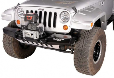 Hanson Offroad - Hanson Offroad JKML1102-P Jeep JK Medium Basic Front Bumper with Light Provision