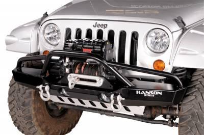 Jeep Bumpers - Hanson - JK Front Bumpers - Hanson Offroad - Hanson Offroad JKML1302-P Jeep JK Medium Fenderbar Front Bumper with Light Provision