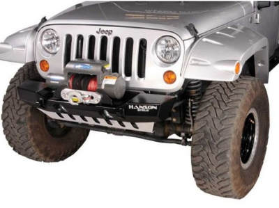 Hanson Offroad - Hanson Offroad JKSL1102-P Jeep JK Stubby Basic Front Bumper with Light Provision