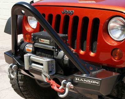 Hanson Offroad - Hanson Offroad JKSL1302-P Jeep JK Stubby Stinger Front Bumper with Light Provision