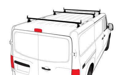 """Vantech Van Racks - Nissan NV Racks - Vantech - Vantech H3322W H3 Aluminum Rack White 3 Bar 8"""" Tall Nissan NV 2011-2013"""