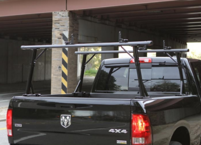 "MDF Exterior Accessories - Ladder Racks - Vantech - Vantech P3001B Universal Clamp On Mid Size Truck Rack with 65"" Bars Black"